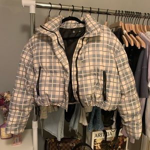 Cropped Plaid Puff Jacket
